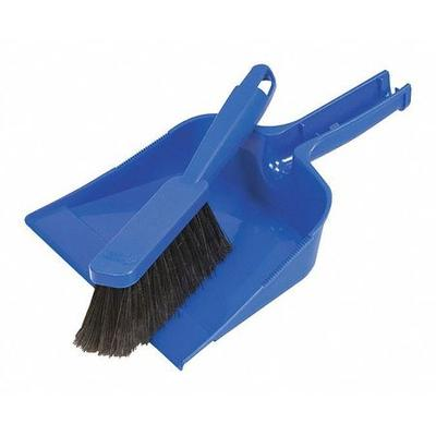 A dustpan is the smaller version of a half brush. Take a look at the features for Quickie Dust Pan and Brush Set. Color: Blue, Material: Plastic, Overall Width: 10\