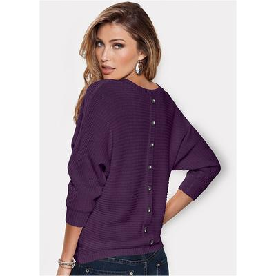 Button Back Detail Sweater Sweat...