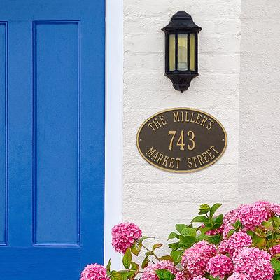Hawthorne Estate Wall Address Plaque - Antique Brass with Matching Type - Frontgate