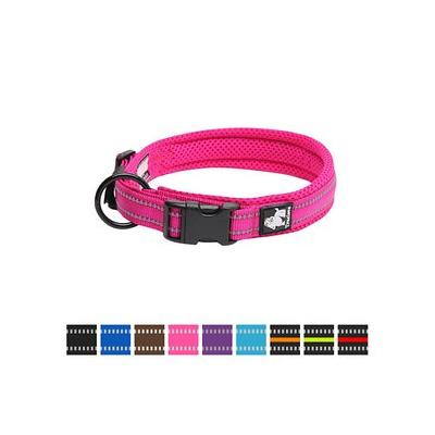 Chai's Choice Comfort Cushion 3M Polyester Reflective Dog Collar, Fuchsia, Large: 17.7 to 19.7-in neck, 4/5-in wide