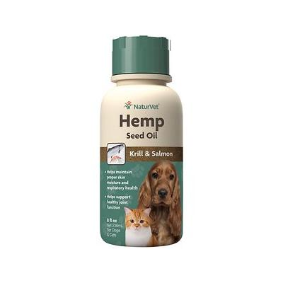 NaturVet Hemp Seed, Krill, & Salmon Oil Dog & Cat Supplement, 8-oz bottle